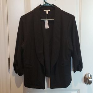 Maurices Solid Open Front Blazer 3/4 sleeve